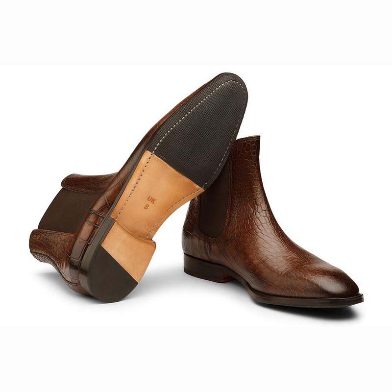 Brown Croco Chelsea Boots
