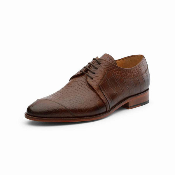 Brown Croco Derby with Side Toe Detail