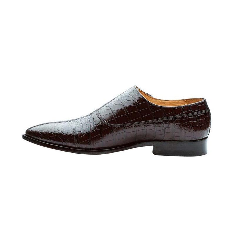 Brown Croco Double Side Monk Strap