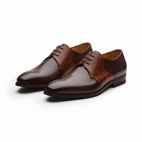 Brown derby with Tan Croco Detail