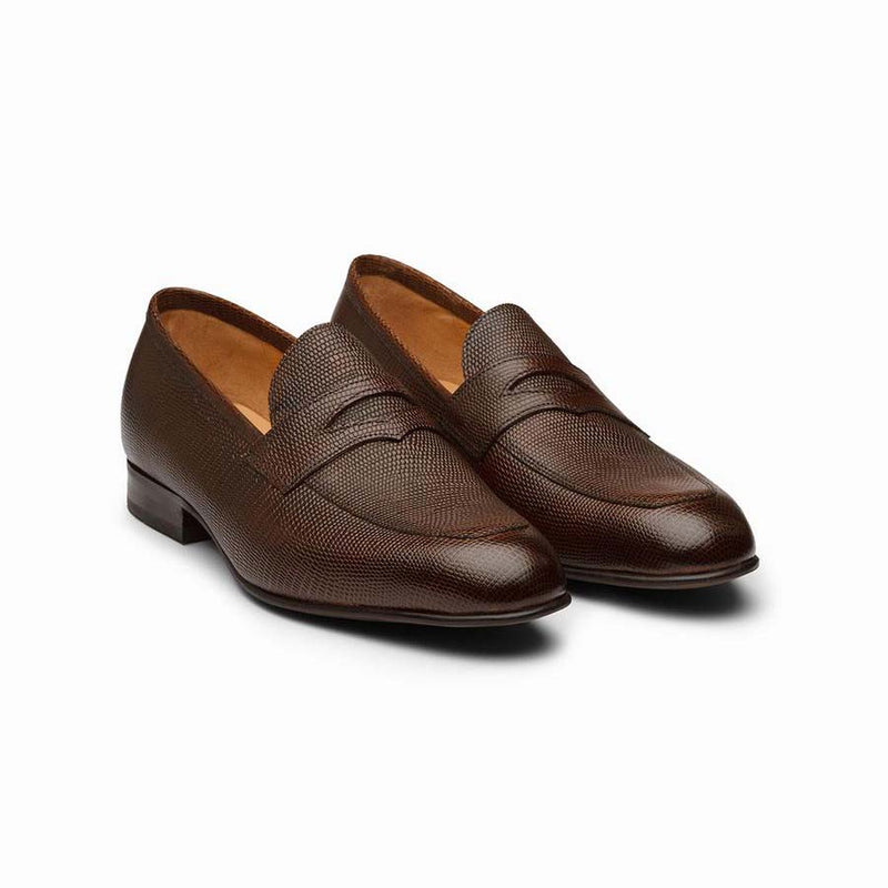 Brown Lizard pattern Penny Loafers