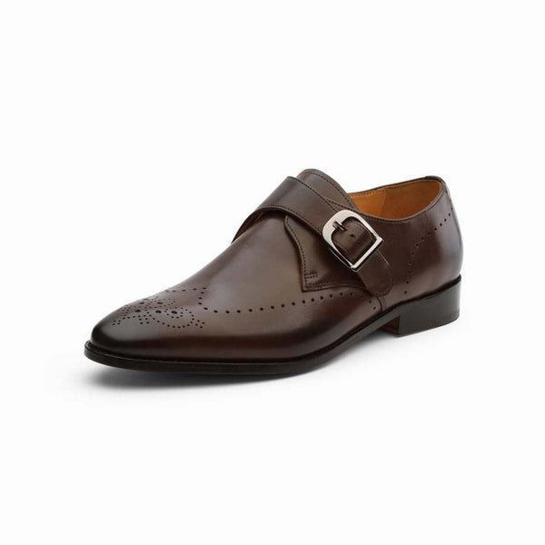Brown Punched Wingtip Single Monks