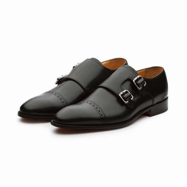 Black Classic Captoe Double Monks