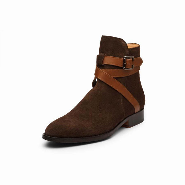 Brown Suede Jodhpur Boots with Tan Leather strap