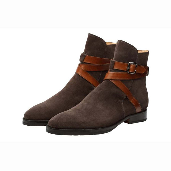 Brown Suede Jodhpur Boots with Tan Straps