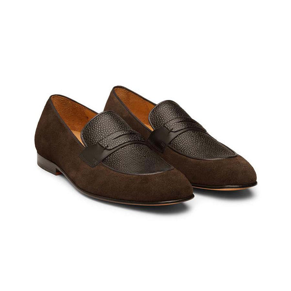 Brown Suede Penny Loafers with Black Grain Leather Vamp