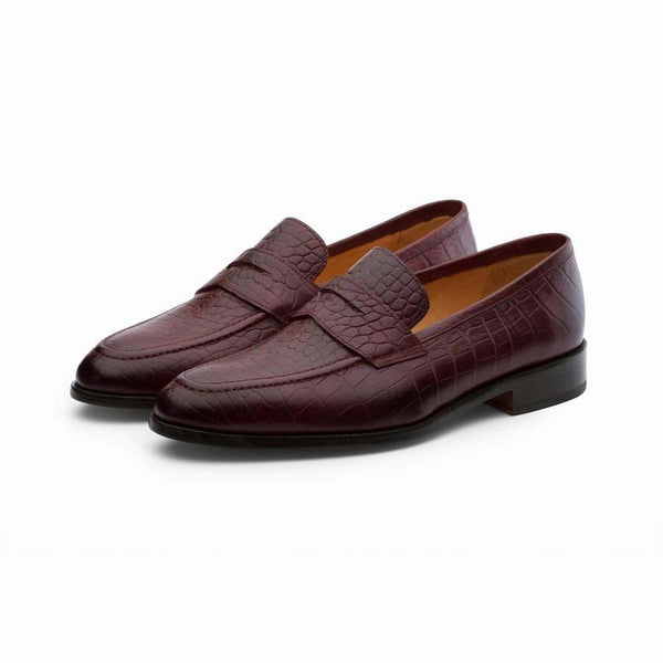 Burgundy Croco penny Loafers