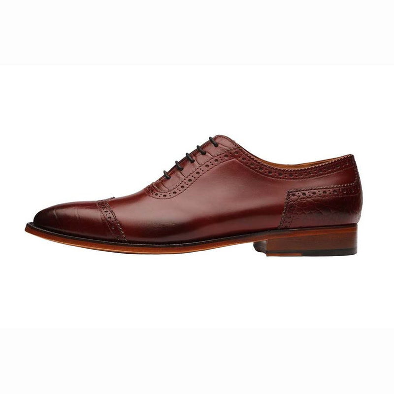 Burgundy Croco Wingtip Oxfords