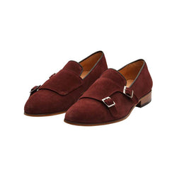 Burgundy Suede Monk Slipon