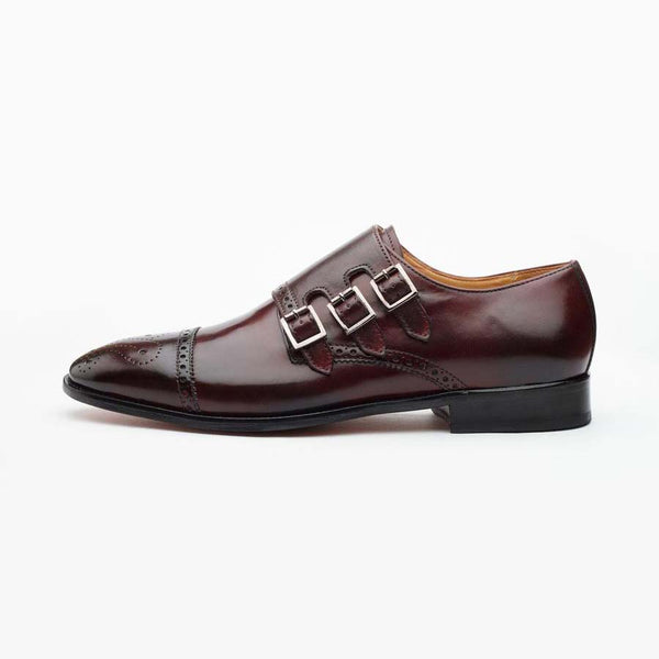 Burgundy Triple Monk Straps