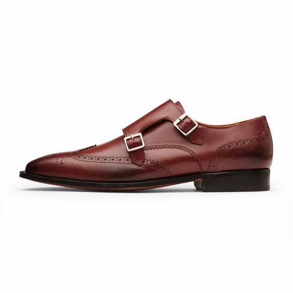 Burgundy Wingtip Double Monk Straps