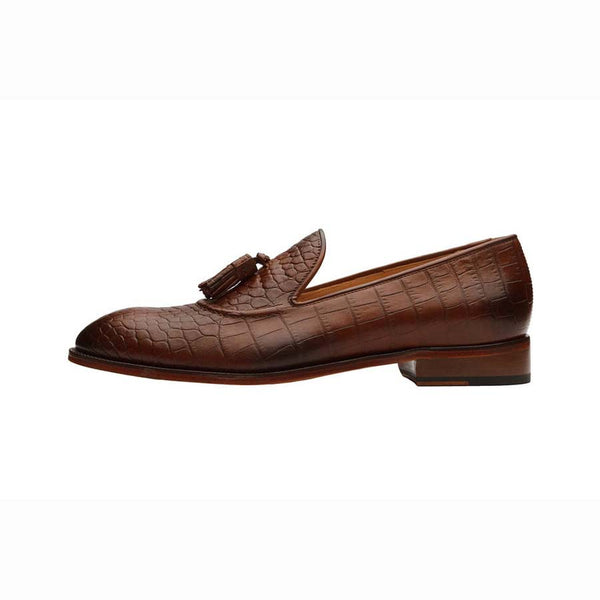 Cognac Croco Tassel Loafer with Neck Detail