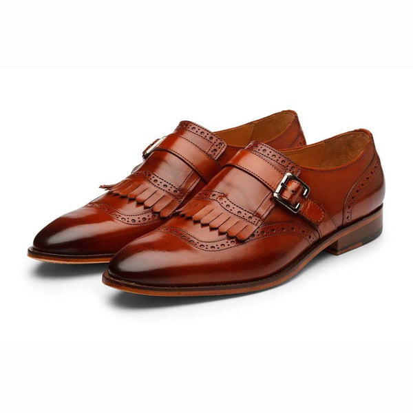 Cognac Fringe Single Monk Strap