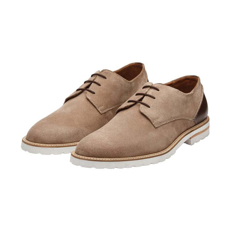 Cream Suede + Brown Combination Casual Derby