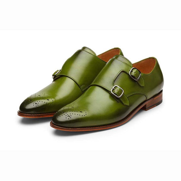 Green Medallion Monk Straps