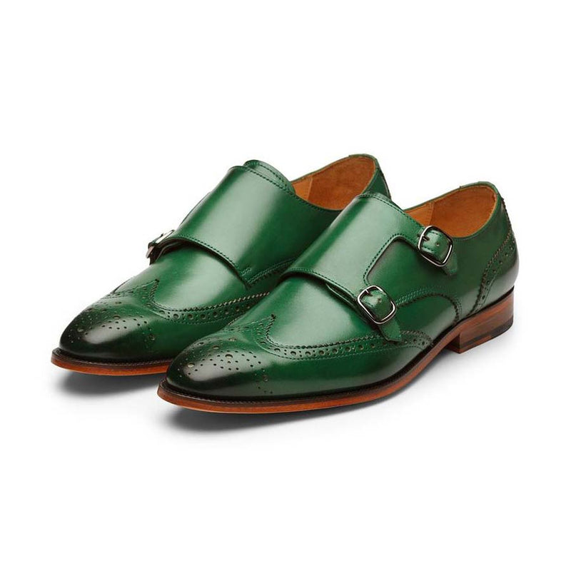 Green Wingtip Double Monk Starps
