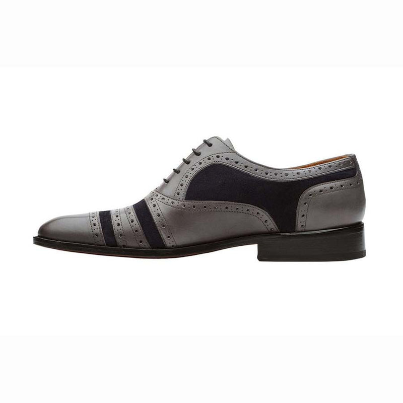 Grey + Navy Suede Gladiator Oxfords