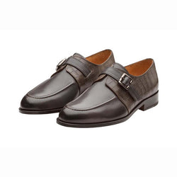 Grey Single Monks with Croco Detail