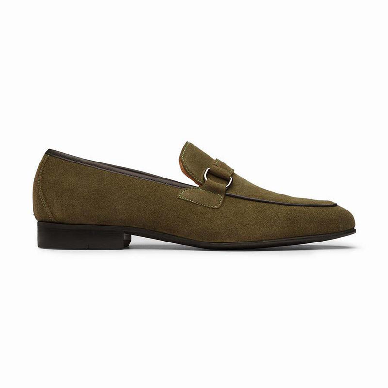 Khaki Suede Buckle Loafers