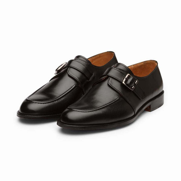 Black Cordstitch Single Monk Straps