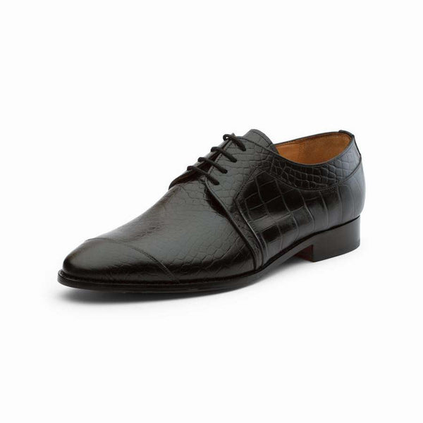Black Croco Derby with Side Toe Detail