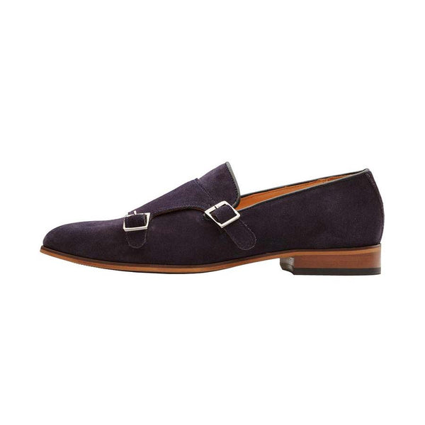 Navy Suede Monk Slipon