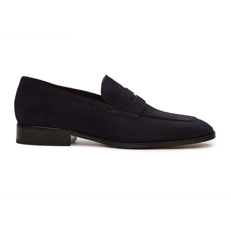 Navy Suede Square Toe Penny Loafers