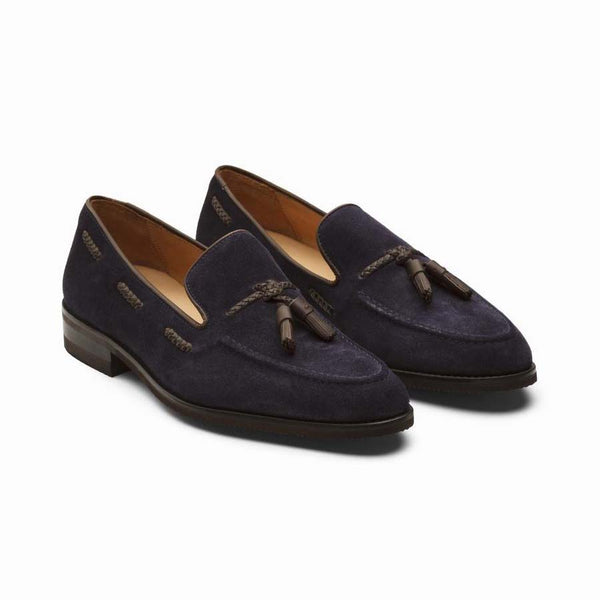Navy Suede with Leather Tassels