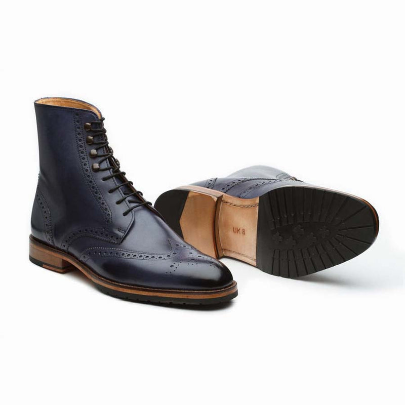 Navy Wingtip Derby Boot