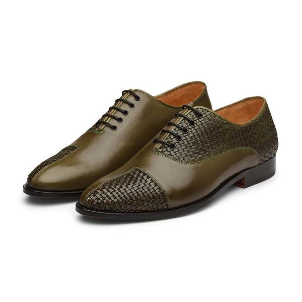 Olive Braided Captoe Oxford