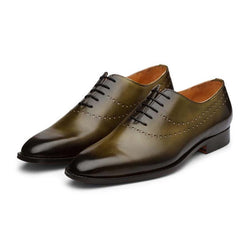 Olive Patina Punched Oxfords
