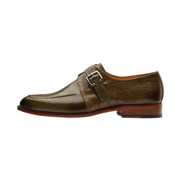 Olive Single Monk with Croco Detail