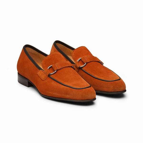 Orange Suede Buckle Loafer