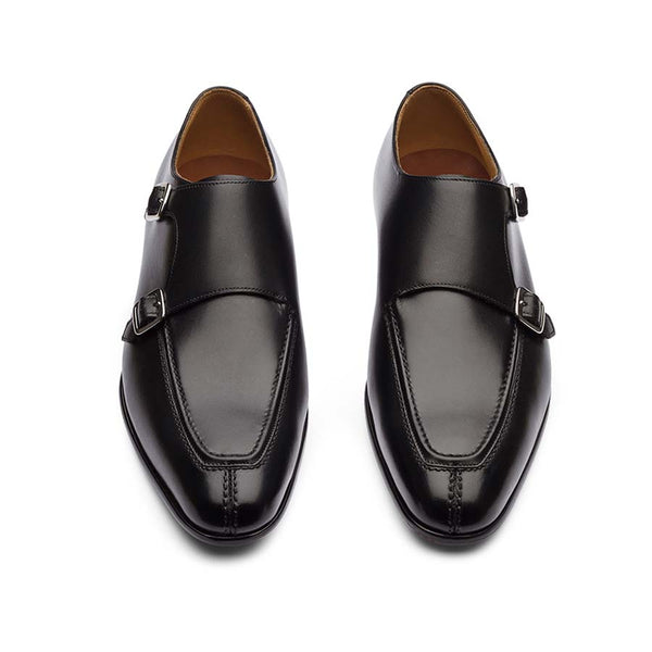 Black Apron Toe Monk Straps