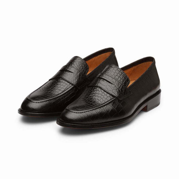 Black Croco Penny Loafers