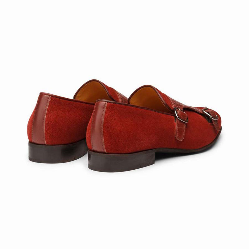 Red Suede Croco Monk Slipons