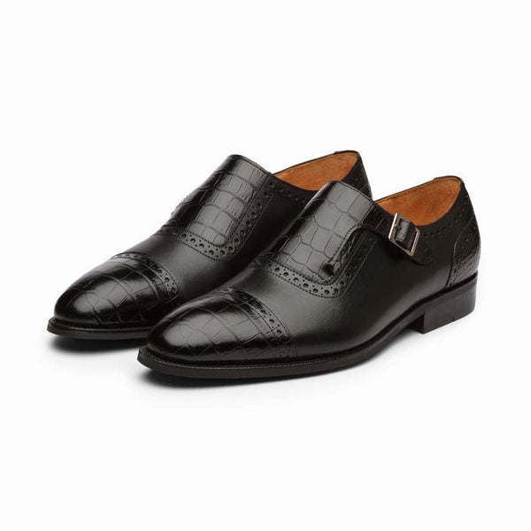 Black Croco Single Monk Straps