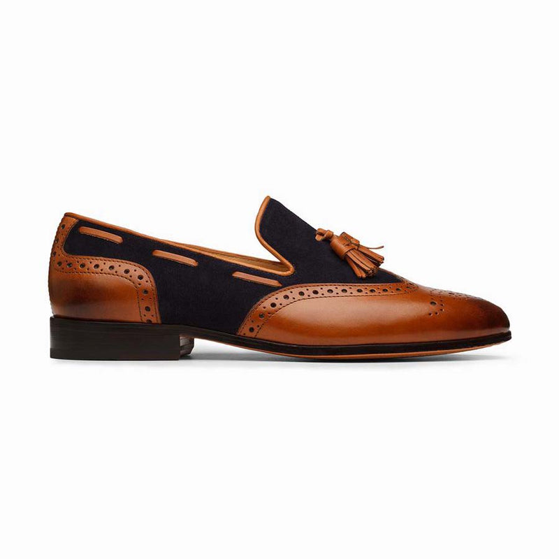 Tan + Navy Suede Combination Tassel Loafer