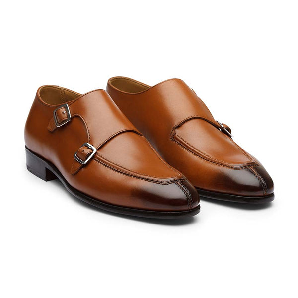 Tan Apron Toe Monkstraps