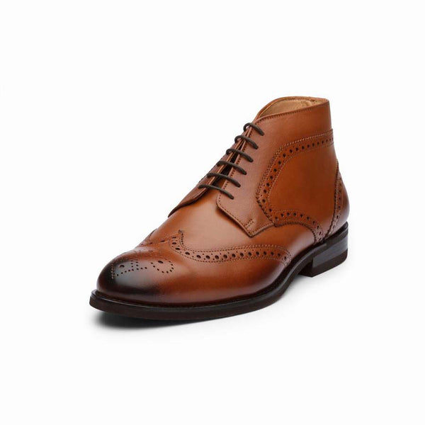Tan Brogue Derby Boots