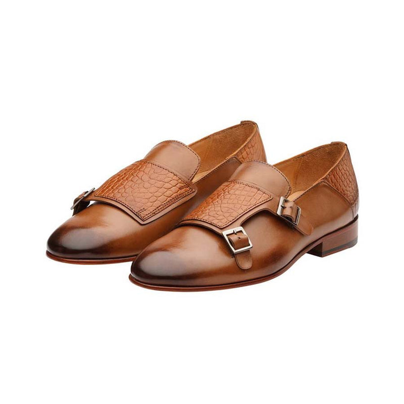 Tan Croco Monk Slipon