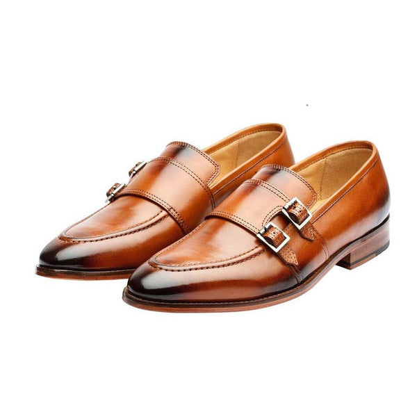 Tan Double Buckle Monk Slipon