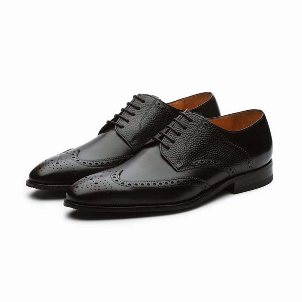 Black Derby Wingtip With Grain Detail