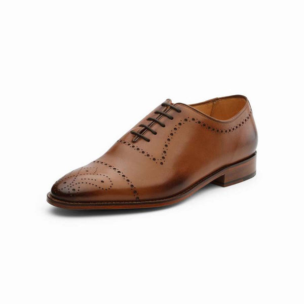 Tan Punched Captoe Oxfords