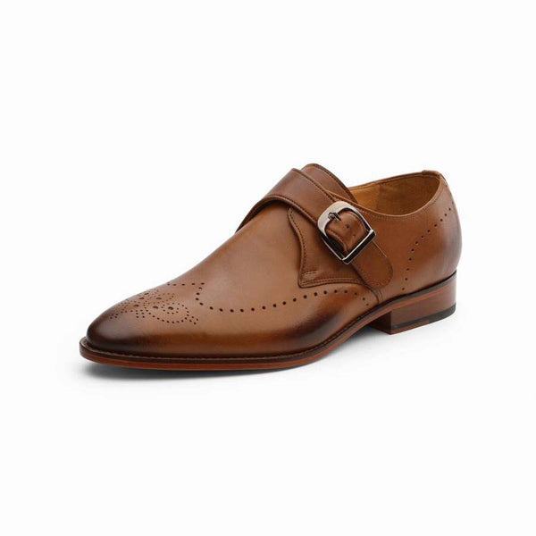 Tan Punched Wingtip Single Monks