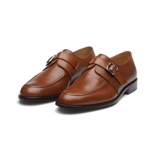 Tan Single Monk Straps with Cordstitch