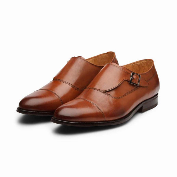 Tan single side strap Captoe Monk Strap
