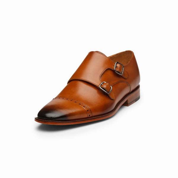 Tan Sleek Captoe Double Monk Straps