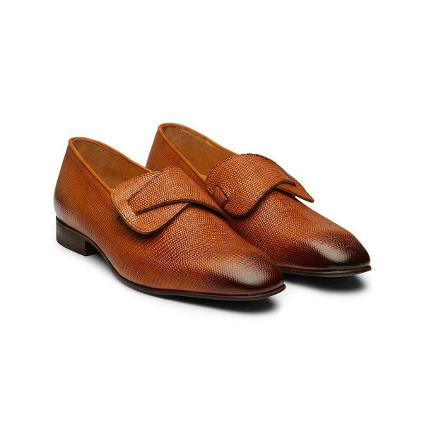 Tan Square Toe Lizard Pattern Butterfly loafers