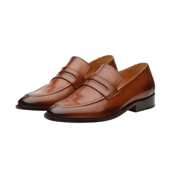 Tan Square Toe Penny Loafers